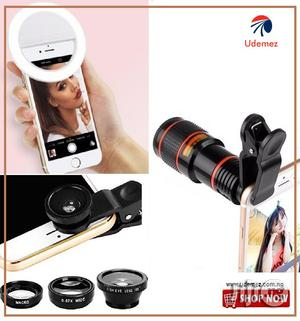 Mobile Telescope + Camera Lens & Selfie Ring Light Combo Pack | Accessories for Mobile Phones & Tablets for sale in Lagos State, Ikeja