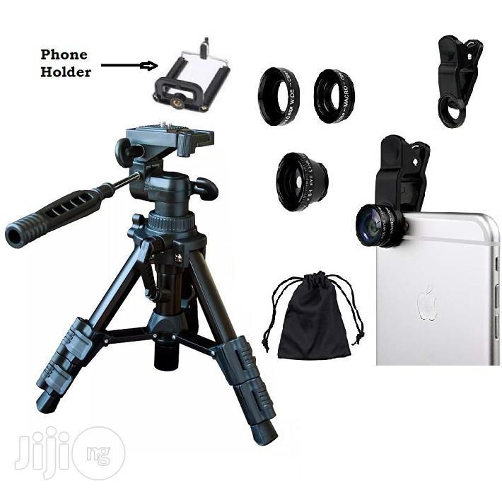 Mini Tripod For Smart Phone & Camera + Fish Eye 3-in-1 Camera Lens