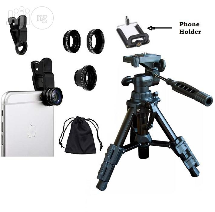 Mini Tripod For Smart Phone & Camera With 3-in-1 Camera Lens +