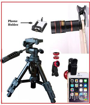 Portable Tripod Stand With Mobile Telescope and Selfie Ring Light   Accessories & Supplies for Electronics for sale in Lagos State, Ikeja