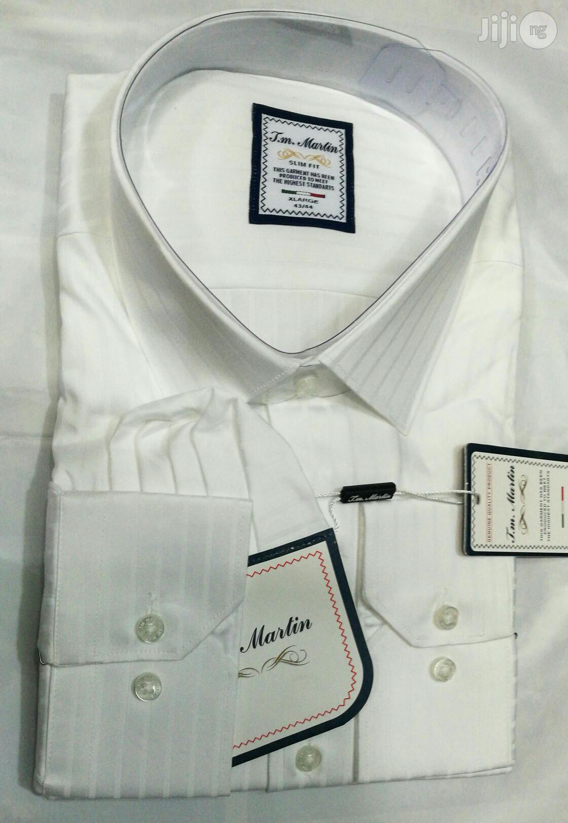100% Pure White Shirt With Line by TM Martin | Clothing for sale in Lagos Island, Lagos State, Nigeria