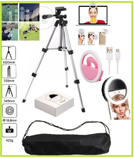 3110 4-Section Tripod Stand for Cam/ Video Rec.+ Selfie Ring Light