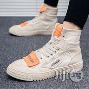 Fashion Men's Sneakers High Top Sport Shoes Canvas Breathable Running Sneakers- Beige.   Shoes for sale in Abuja (FCT) State, Central Business Dis