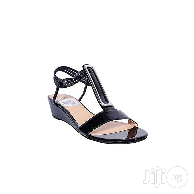 IMPO Unique Trendy Women Wedge Sandals- Black