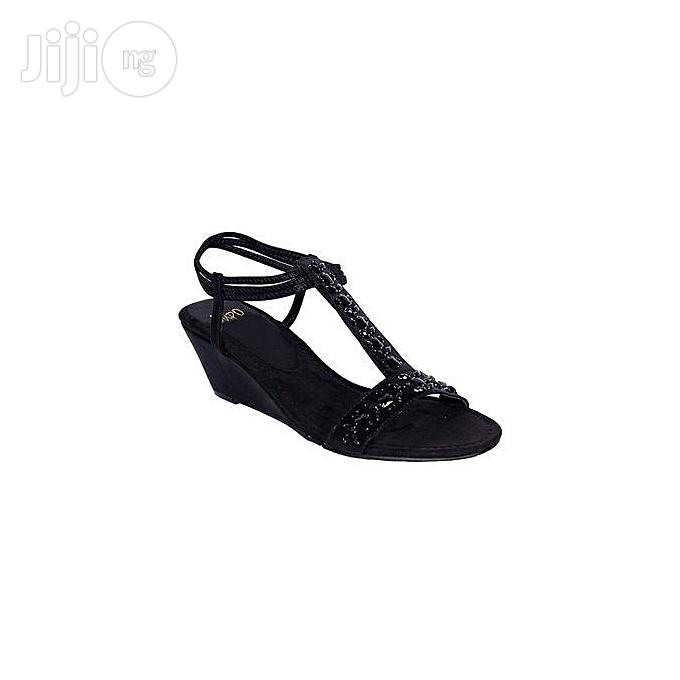 IMPO Unique Trendy Women Wedge Sandals- Black | Shoes for sale in Oshodi-Isolo, Lagos State, Nigeria