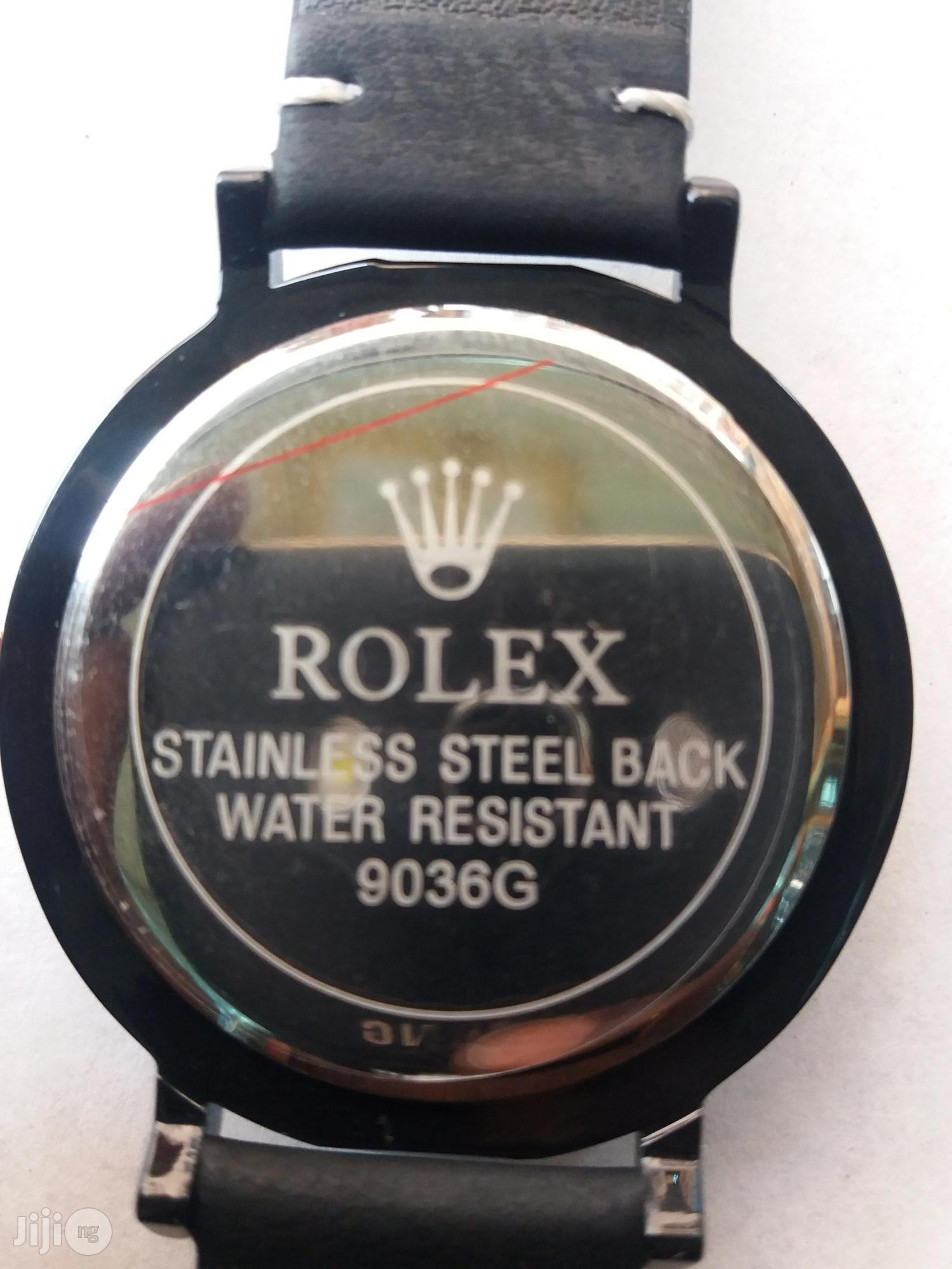 Rolex Leather Strap Wrist Watch | Watches for sale in Lagos Island (Eko), Lagos State, Nigeria