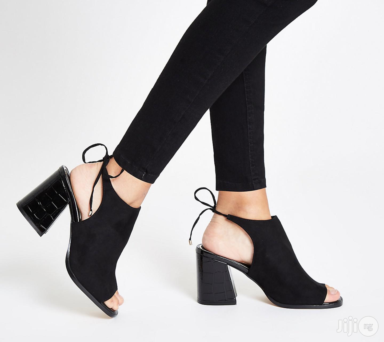 Black Tie Back Block Heel Shoe