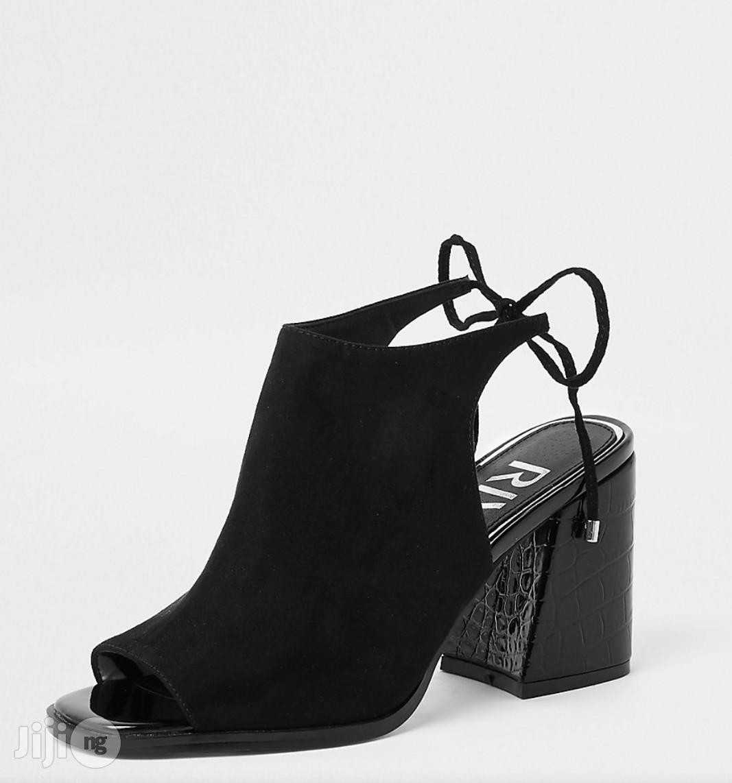 Black Tie Back Block Heel Shoe | Shoes for sale in Lekki, Lagos State, Nigeria
