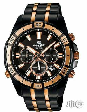Edifce Casio Chronograph Rose Gold/Black Chain Watch | Watches for sale in Lagos State, Lagos Island (Eko)