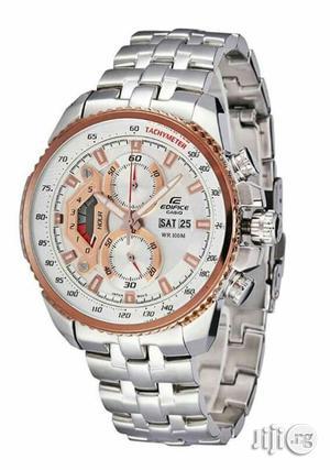 Edifce Casio Chronograph Rose Gold/Silver Chain Watch | Watches for sale in Lagos State, Lagos Island (Eko)