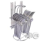 25 Pcs Cutlery Sets With Cutlery Holder - Silver | Kitchen & Dining for sale in Lagos State, Lagos Island