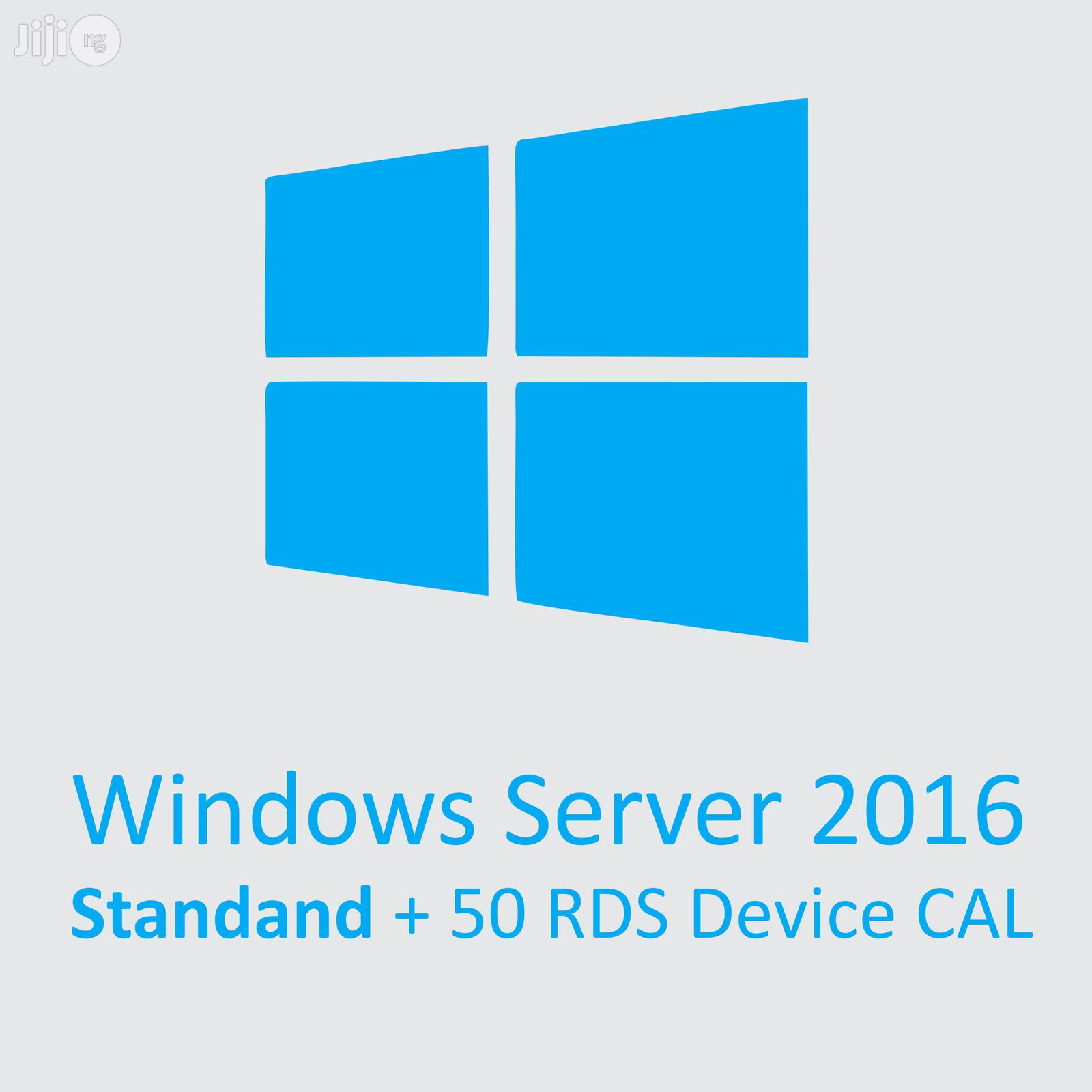 Microsoft Windows Server 2016 Standard   1 Server License With 50 RDS Devices CAL