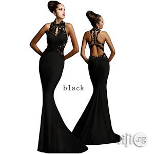 Evening Dress Applique Stitching Sleeveless Sexy Hip Fishtail Skirt- Black | Clothing for sale in Lagos State, Surulere