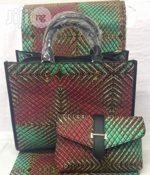 High Fabric 6yards Wax and Ankara Bag With Purse Imported Vii