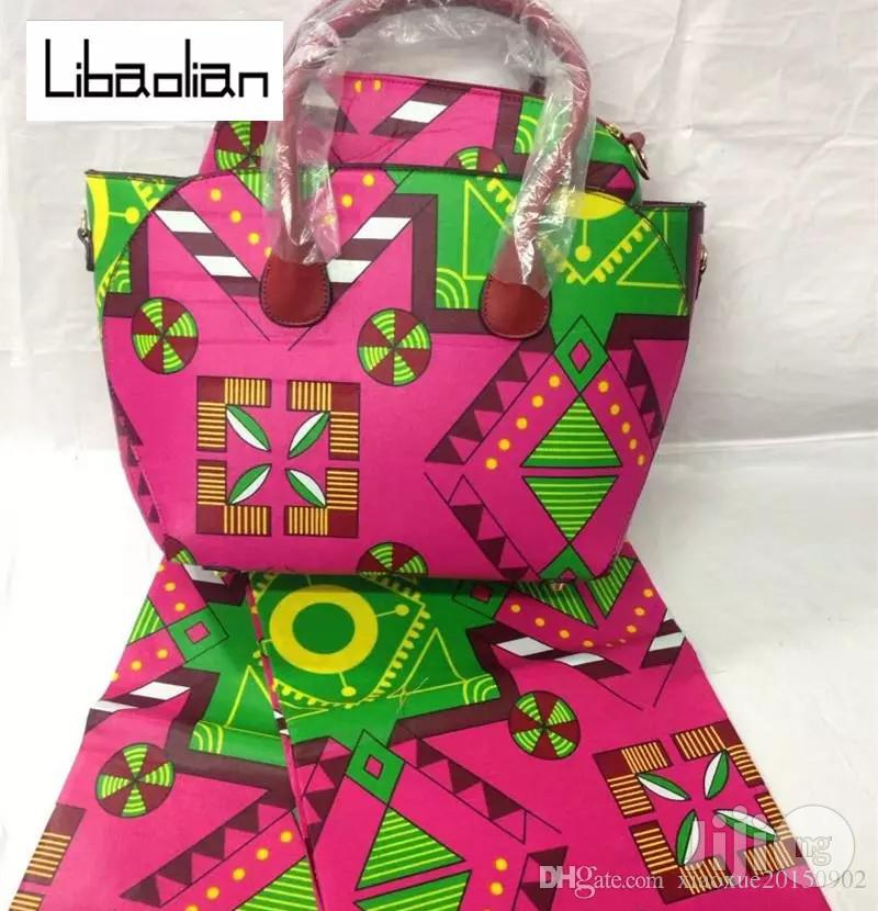 High Fabric 6yards Wax and Ankara Bag With Purse Imported Xi