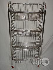 Stainless Steel Kitchen Fruit Vegetable Rack Storage Cart Trolley 4 Tier   Store Equipment for sale in Lagos State, Victoria Island