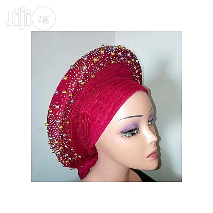Fashion Auto Gele With Gold Pearl Embelishment   Clothing Accessories for sale in Lagos State, Nigeria