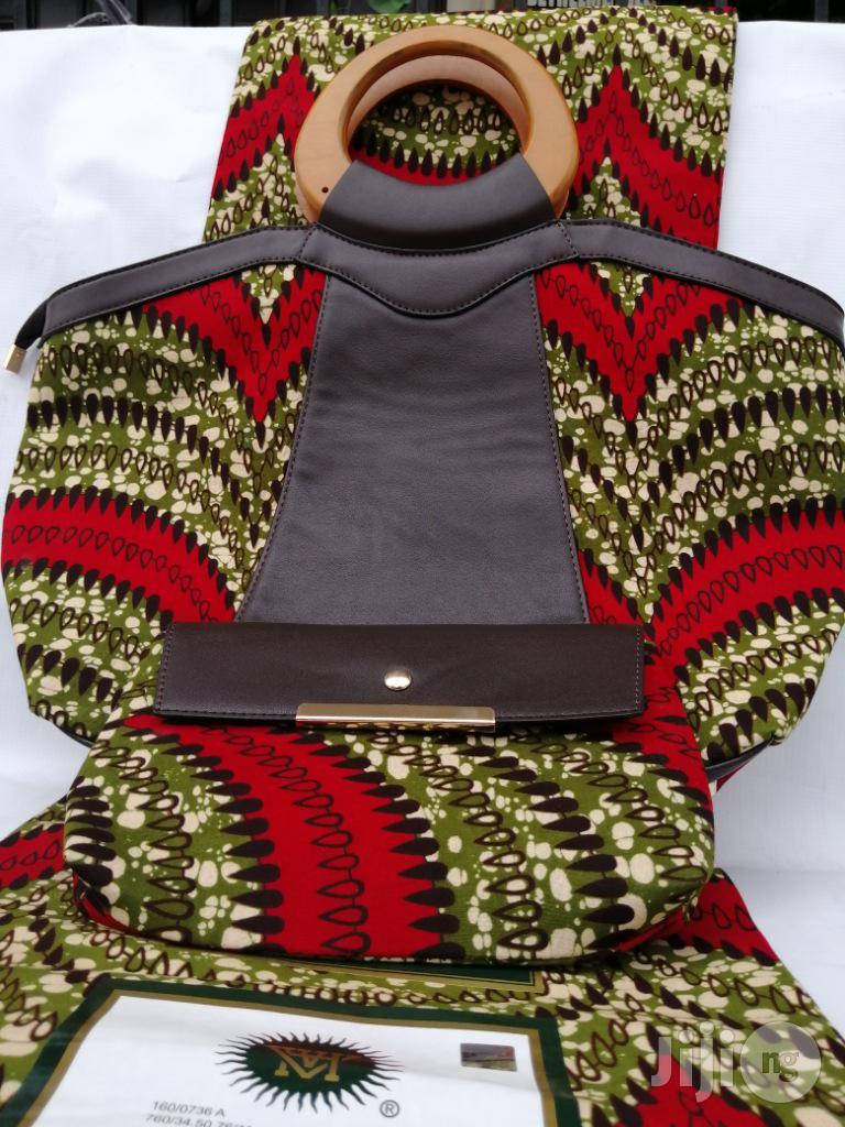 Italian Made Ankara Bags With 6yards Wax And Purse Iii