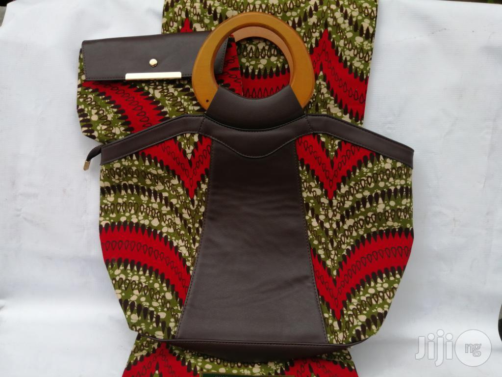 Italian Made Ankara Bags With 6yards Wax And Purse Ix