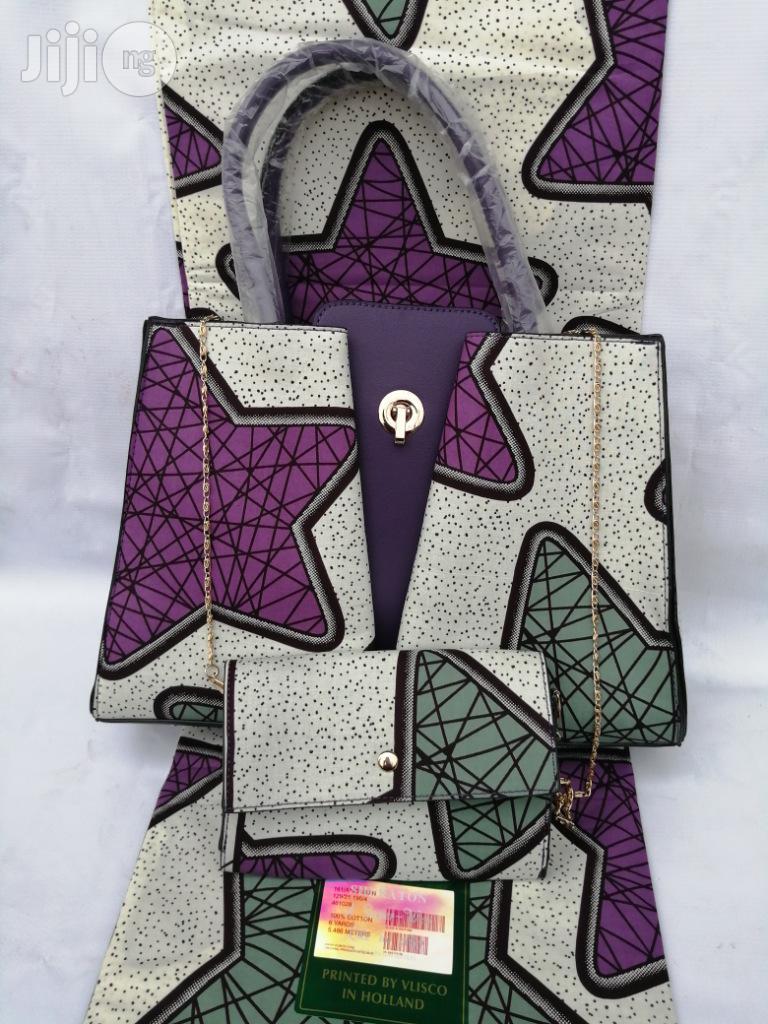 Italian Made Ankara Bags With 6yards Wax And Purse Xiv