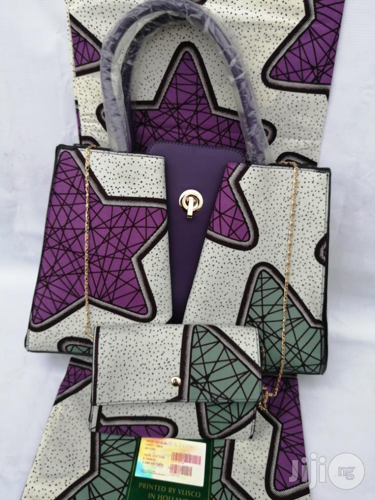 Italian Made Ankara Bags With 6yards Wax And Purse Xix