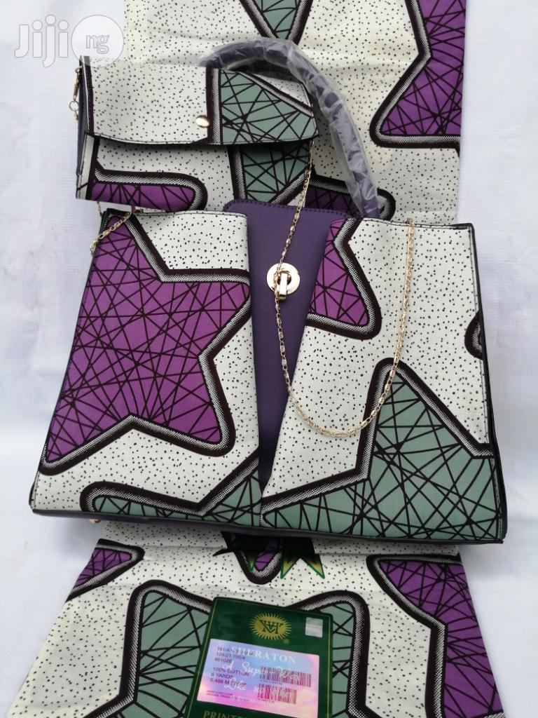 Italian Made Ankara Bags With 6yards Wax And Purse Xx