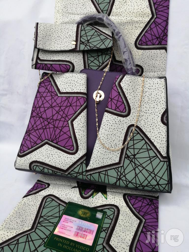 Italian Made Ankara Bags With 6yards Wax And Purse-xxi