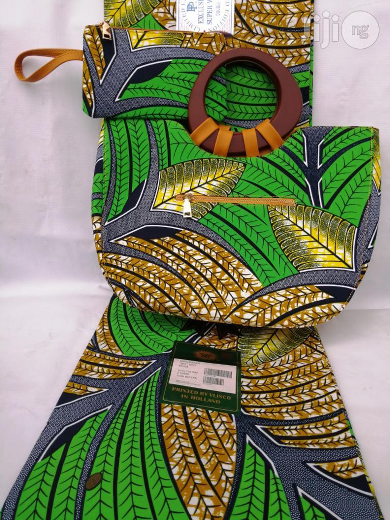 Italian Made Ankara Bags With 6yards Wax And Purse -xxxii