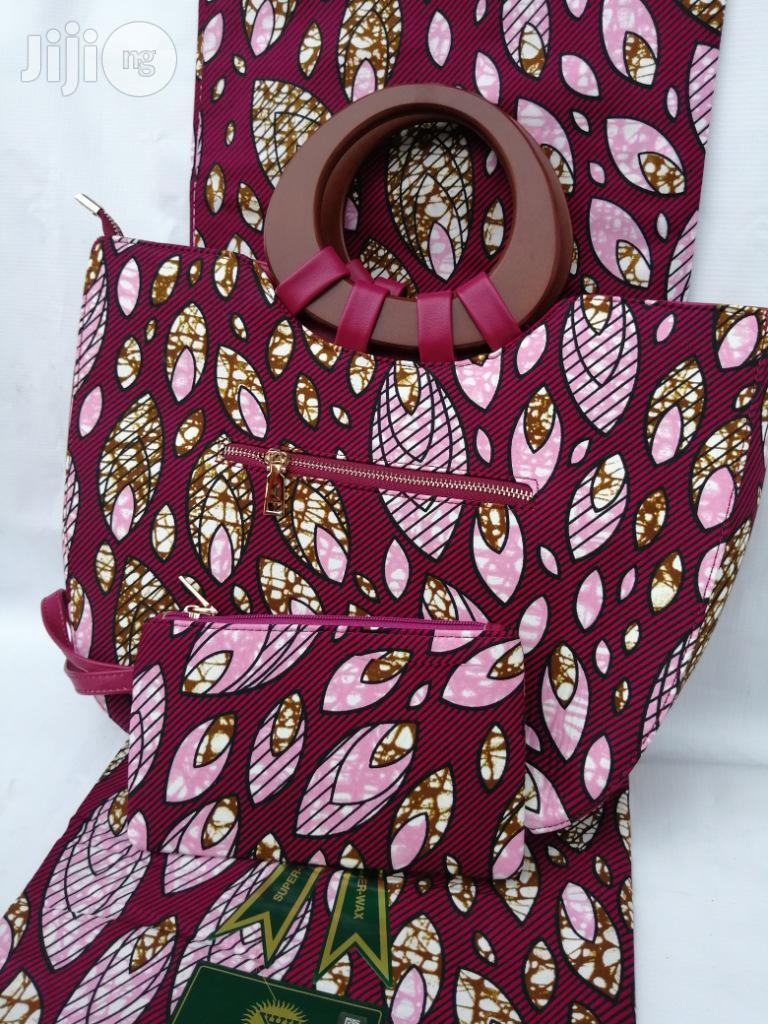 Italian Made Ankara Bags With 6yards Wax And Purse Xlviii