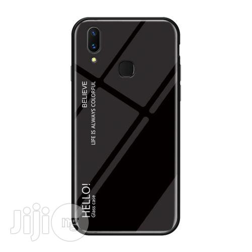Huawei Y9 (2019) Gradient Color Glass Protective Back Case (Black)