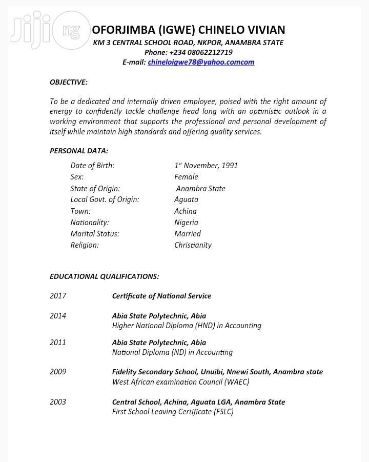 Finance Coordinator | Accounting & Finance CVs for sale in Awka, Anambra State, Nigeria