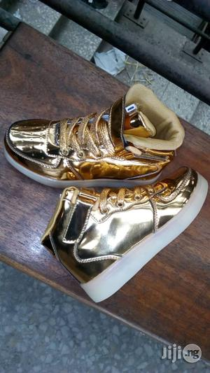 Led Gold Colored High Top Canvas Sneakers | Children's Shoes for sale in Lagos State, Lagos Island (Eko)