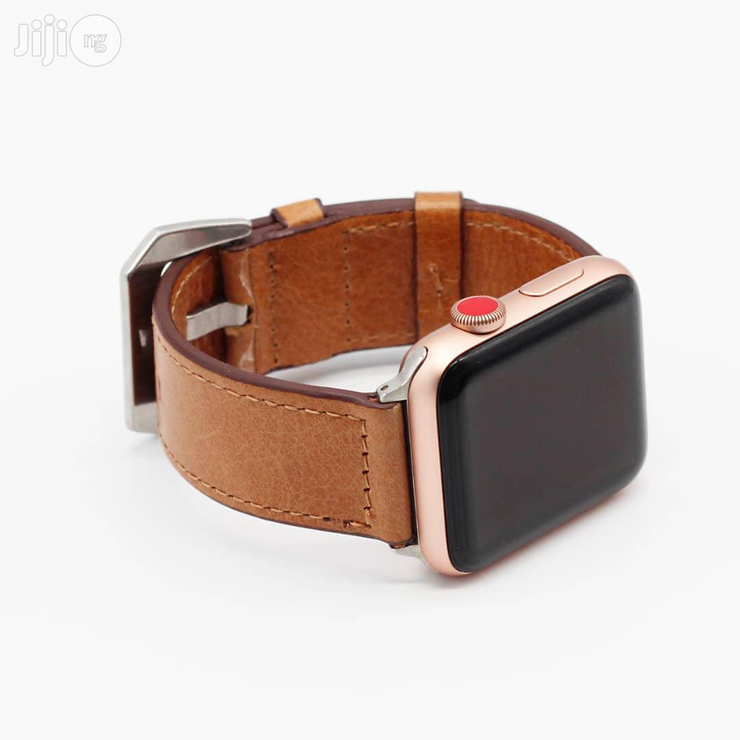 Leather Watch Strap 42mm And 38mm For Apple Watch Light Brown