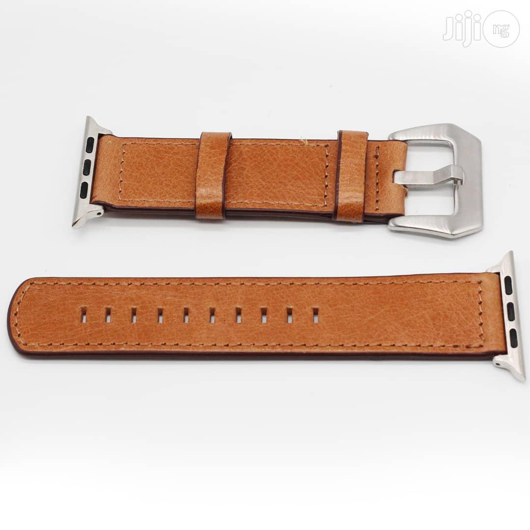 Leather Watch Strap 42mm And 38mm For Apple Watch Light Brown   Smart Watches & Trackers for sale in Ikeja, Lagos State, Nigeria
