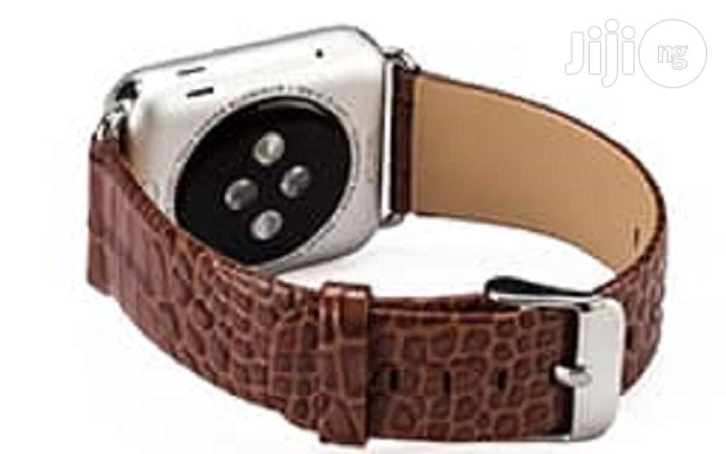 Crocodile Leather Watch Strap 42mm For Apple Watch Brown