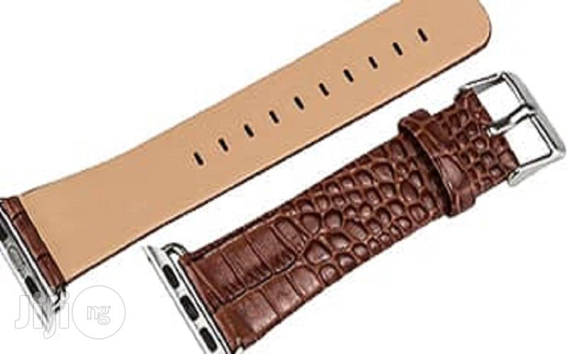 Crocodile Leather Watch Strap 42mm For Apple Watch Brown | Smart Watches & Trackers for sale in Ikeja, Lagos State, Nigeria