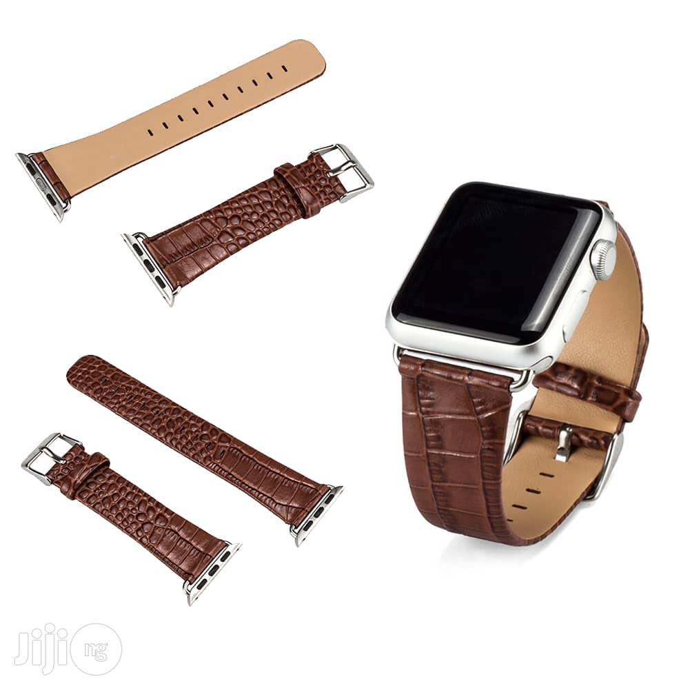 Crocodile Leather Watch Strap 38mm For Apple Watch Brown