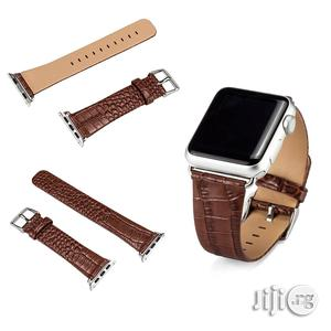 Crocodile Leather Watch Strap 38mm For Apple Watch Brown | Smart Watches & Trackers for sale in Lagos State, Ikeja
