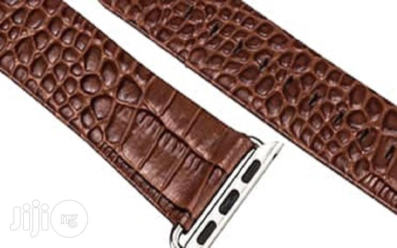 Crocodile Leather Watch Strap 38mm For Apple Watch Brown   Smart Watches & Trackers for sale in Ikeja, Lagos State, Nigeria