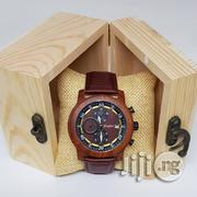 Classic Wooden Chronograph Wristwatch With Leather Strap | Watches for sale in Lagos State, Lagos Island