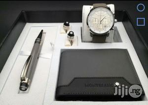 Montblanc Chronograph Silver Leather Strap Watch Set & Cufflinks/Pen For Men's | Watches for sale in Lagos State, Lagos Island (Eko)