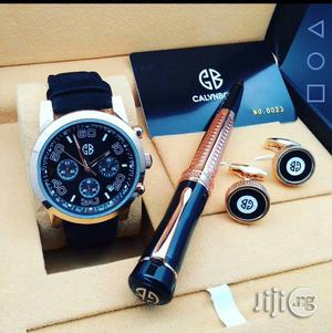 Calvnbo Chronograph Rose Gold Leather Strap Watch Cufflinks/Pen | Watches for sale in Lagos State, Lagos Island (Eko)
