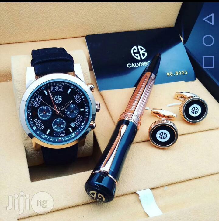 Calvnbo Chronograph Rose Gold Leather Strap Watch Cufflinks/Pen