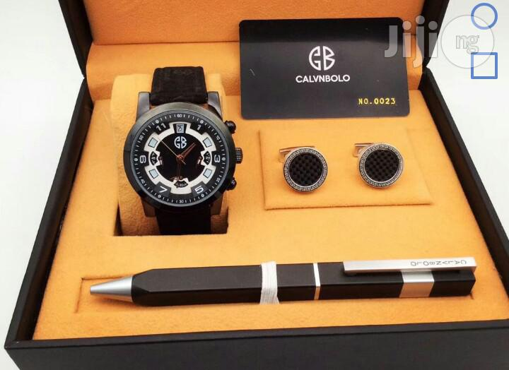 Calvnbolo Chronograph Black Leather Strap Watch Cufflinks/Pen
