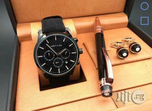 Montblanc Chronograph Black Leather Strap Watch Cufflinks/Pen | Watches for sale in Lagos State, Lagos Island (Eko)