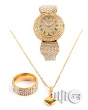 Italian 18karat Gold Plated Neck Chain With Wrist Watch And Ring | Watches for sale in Lagos State