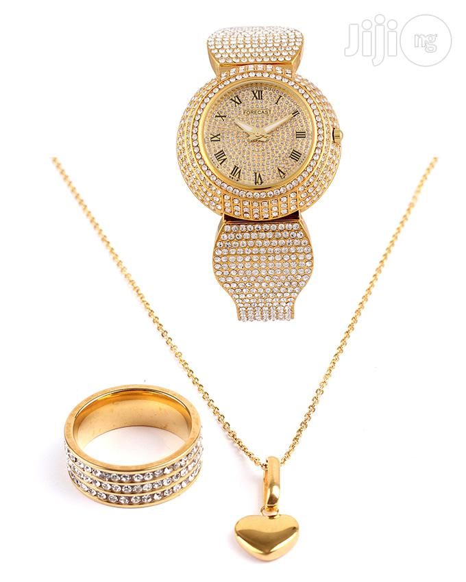 Italian 18karat Gold Plated Neck Chain With Wrist Watch And Ring