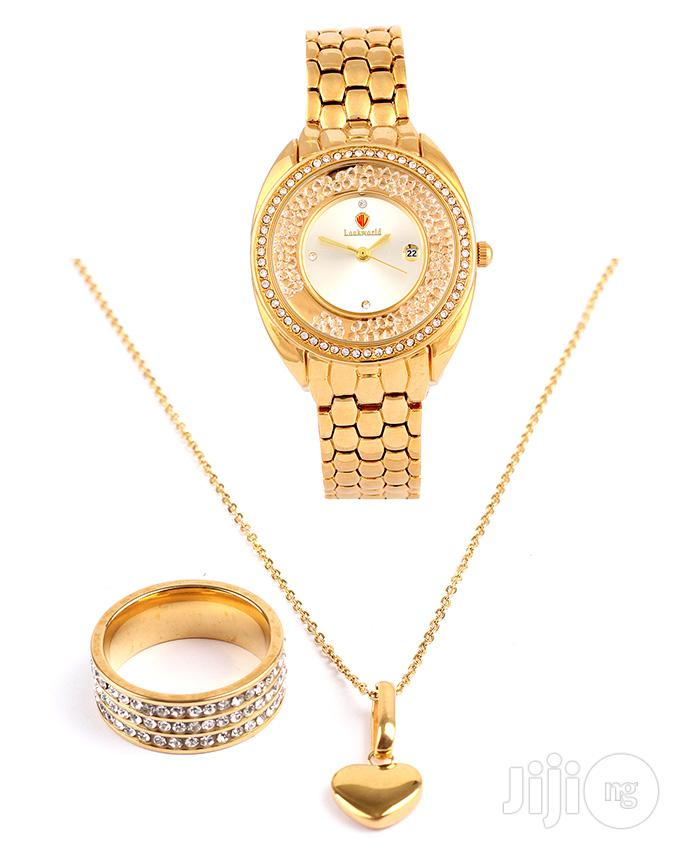 18karat Gold Plated Italian Neck Chain And Wrist Watch With Ring