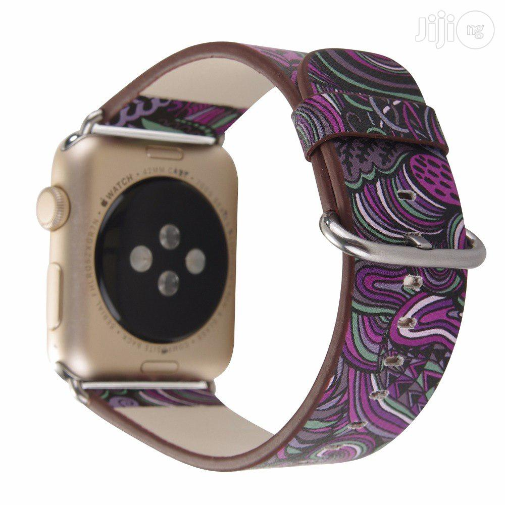 Leather Band Strap For Apple Watch 42mm Series 1/2/3/4 Flower Prints | Smart Watches & Trackers for sale in Ikeja, Lagos State, Nigeria