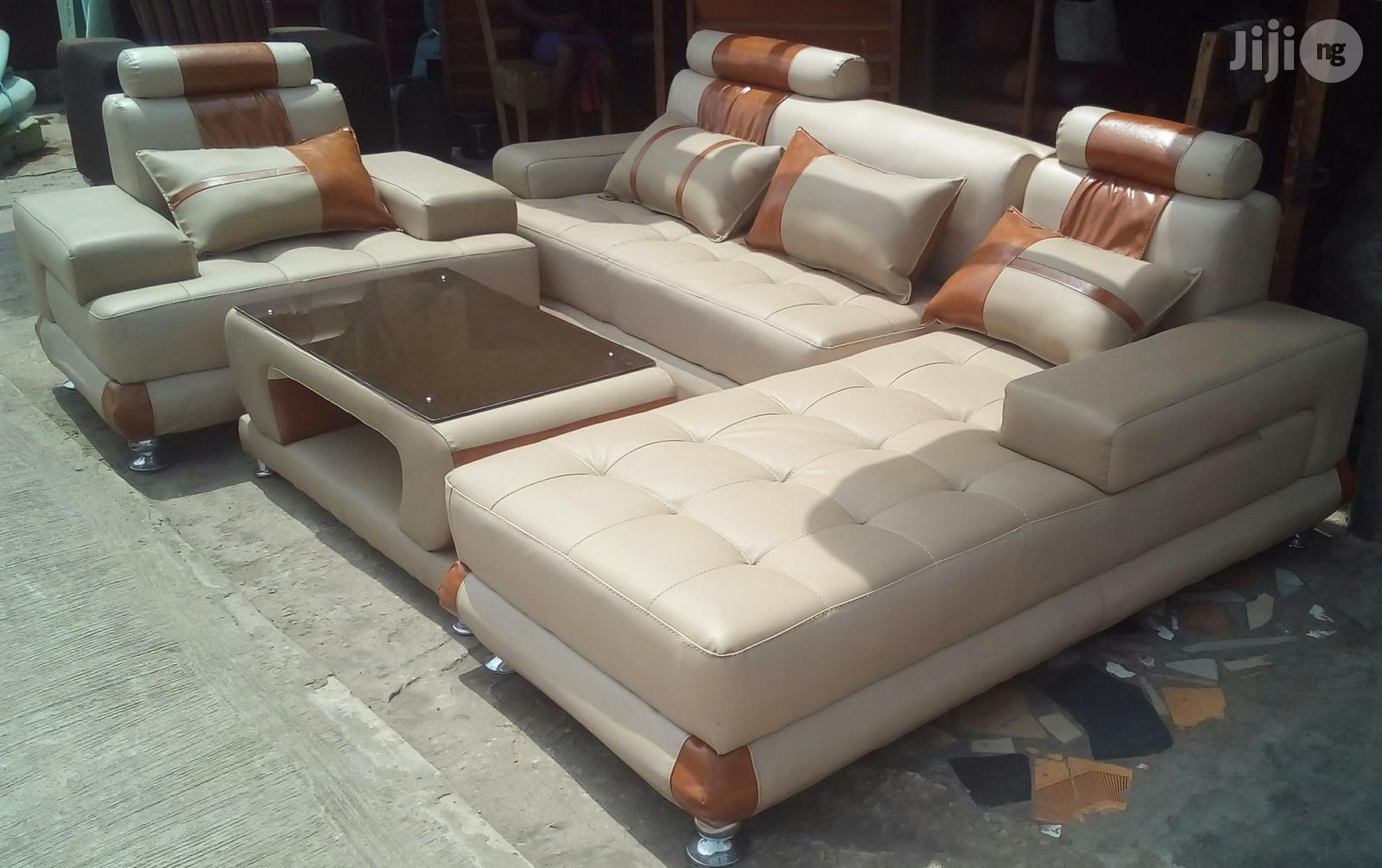 Set Of Living Room Couches And A Centre Table. L-shaped Couches With A Single Seater Chair | Furniture for sale in Ajah, Lagos State, Nigeria